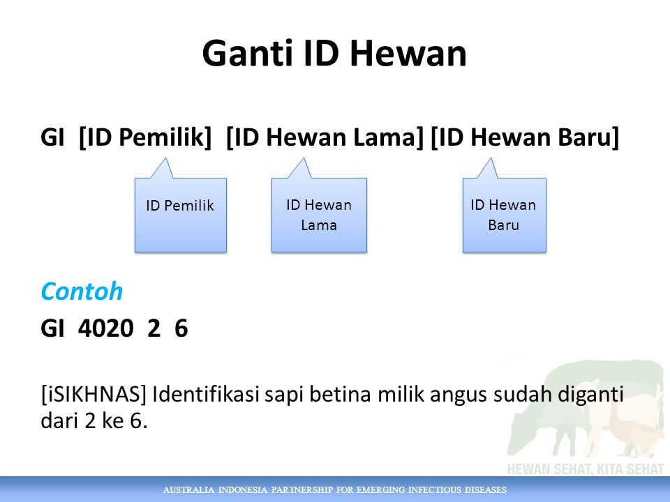 Ganti ID Hewan GI [ID Pemilik] [ID Hewan Lama] [ID Hewan Baru] Contoh